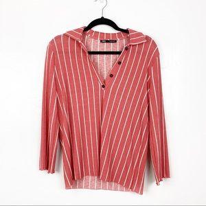 Zara | Pink White Strioed Half Button Blouse